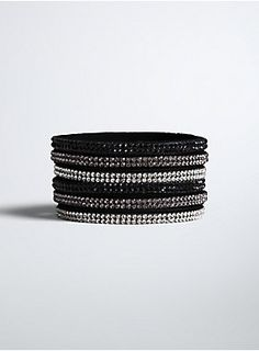 """<p>Totally off-the-cuff here, but we don't think you're gonna find a better bracelet! A black faux suede cuff bracelet snaps closed thanks to gemstone buttons. Black, purple, and clear gemstones dot the straps, giving you some gleam.</p>  <ul> <li>10"""" long</li> <li>Base metals</li> <li>Imported</li> </ul>"""