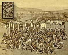 After the 1872-73 Tonto Basin Campaign, George Crook mistakenly declared the government's war with Apaches had ended. Crook (wearing a pith helmet) posed with some aides (Capt. George Randall stands to his right) and scouts from that campaign, including Mickey Free (front row, third from left; inset shows detail) and nine Apaches who earned the Medal of Honor for their actions.– Courtesy Collection of Jeremy Rowe Vintage Photography, VintagePhoto.com –