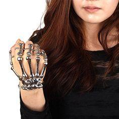 Amazon.com: Skeleton Hand Finger Bone Bracelet Ring Silver: Toys & Games