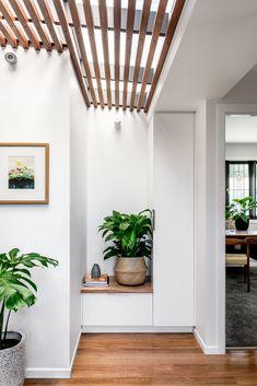 Oxford Cottage Investment House, Timber Ceiling, Queenslander, Entryway Furniture, Dark Interiors, Prefab Homes, Built In Storage, Design Development, One Bedroom