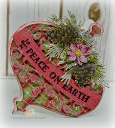 Peace on Earth Ornament Card - Wow friends and loved ones with a bauble shaped Christmas card this holiday season! Country Christmas Ornaments, Merry Christmas Card, A Christmas Story, Xmas Cards, Christmas Themes, Handmade Christmas, Christmas Tree Decorations, Holiday Cards, Christmas Crafts