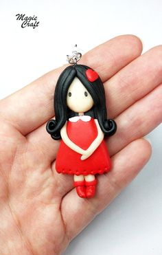 Black Necklace red doll fimo clay by MagieCraft on Etsy, €10.00
