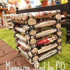 Upcycle old magazines into amazing things such as chair, ornaments, modern art and more! Amaze yourself with what potential that it holds! Magazine Wall, Magazine Collage, Magazine Crafts, Old Book Crafts, Newspaper Crafts, Diy And Crafts, Crafts For Kids, Recycle Crafts, Teen Crafts