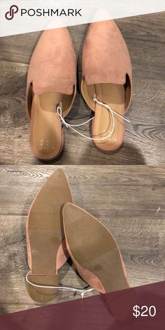 8d9a8fecce3f Pink pointed toe suede flat mules NEW with string attached
