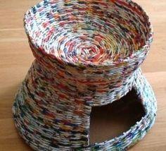 Faire une panière pour chat en papier recyclé..