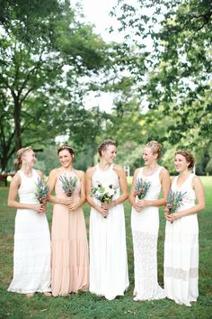 White boho dresses: http://www.stylemepretty.com/2015/07/06/all-chic-all-white-bridal-party-inspiration/
