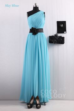 Hot Selling Sheath-Column One Shoulder Sky Blue Chiffon Bridesmaids Dress COSF14001
