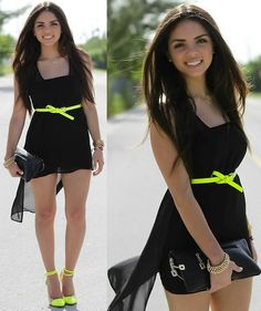 2020ave Sheer Asymmetrical Dress, Romwe Neon Belt, Gojane Neon Cap Toe Pumps, Mimi Boutique Black Clutch