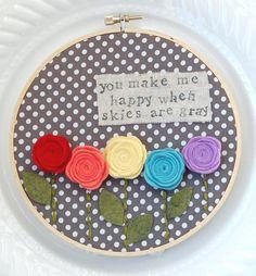 felt, embroidery hoop