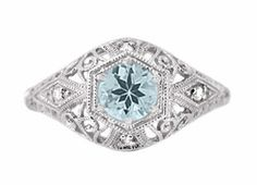 Aquamarine engagement - Edwardian Aquamarine and Diamonds Scroll Dome Filigree Engagement Ring in 14 Karat White Gold ... $610 ...  http://www.antiquejewelrymall.com/r139a.html