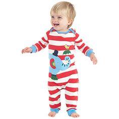 Buy Frugi Baby Stripe Charlie Elephant Romper, Red Online at johnlewis.com £20