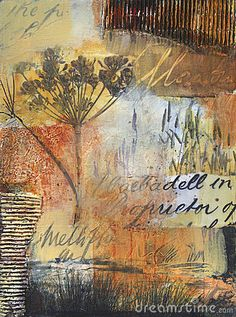 Mixed media painting with nature element by Waxart, via Dreamstime