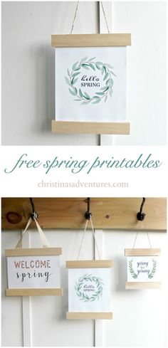 DIY spring sign made with free spring printables. Use trim wood, a hot glue gun, and free spring prints to add to your farmhouse home decor.