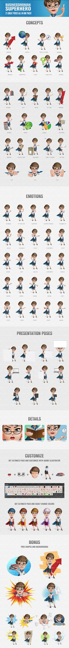 Businesswoman superhero cartoon character pack that includes 75 different poses, suitable for any project. The toon is created in a fun and unique style and the pack comes with bonus shapes and backgrounds for your convenience. Continue reading →