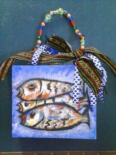 Abstract fish cigar box purse by Cyndi Greer