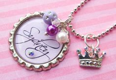 Princess Crown Girl's Bottle Cap Necklace - My daughter would love this! Resin Jewelry, Diy Jewelry, Unique Jewelry, Jewelry Ideas, Jewlery, Bottle Cap Necklace, Bottle Caps, Flower Girl Gifts, Diy Hair Bows