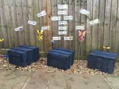 Scrapstore crates used in planting area. Thanks to MKPA for sharing the photo.                                            Gloucestershire Resource Centre http://www.grcltd.org/scrapstore/