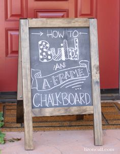 Diy Chalkboard Sandwich Board~~How to Build A-Frame Chalkboard Chalkboard Easel, Chalkboard Signs, Chalkboards, Chalkboard Drawings, Chalkboard Lettering, Outdoor Chalkboard, Chalkboard Ideas, Chalkboard Writing, Sandwich Board Signs