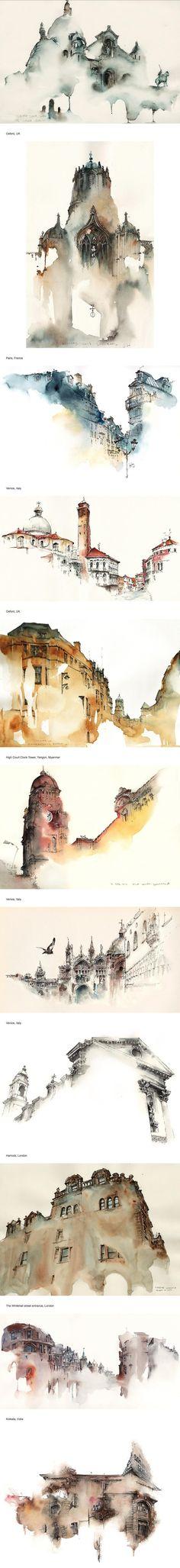 Un esquisse qui capture l'esentiel en détail et sugère le reste. En utilisant deux ou trois couleurs, l'artiste a réussi a évoquer l'esprit de chaque ville. J'adore!