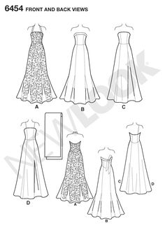 Womens Evening Gowns and Shawl Sewing Pattern 6454 New Look