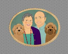 Customized cartoon portrait. Anniversary gift. Custom portrait from photo with pets.