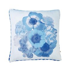 cotton velveteen cushion hand screen printed with vintage posy design in blue finished with blue and white diamond trim Dimensions: x (feather insert included) Care Instructions: Delicate fabric, handle with care. Dryclean only. Bonnie And Neil, Cotton Pillow, Vintage Floral, Screen Printing, Cushions, Blue And White, Tapestry, Throw Pillows, Diamond