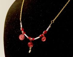 Red and Gold Beaded and Wire Spiral Necklace by BeadJewelledDesign, $25.00