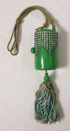 DECO rhinestones & metal studs mint green CELLULOID compact purse circa 1920s