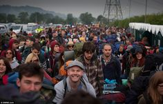 Here we go! Festival-goers poured through the Glastonbury gates when they opened at 8am today - this year performers include the Rolling Stones and Mumford & Sons.