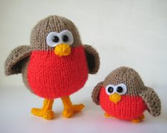 Rockin Robins toy knitting patterns by fluffandfuzz on Etsy