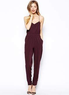 Wine Red Criss Cross Back Pockets Jumpsuit