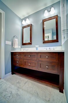 Bathroom+Cabinets | ... Custom Cabinets - Blue Bathroom Double Vanity with Mirrored Cabinets