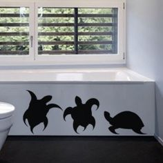 Threesome Turtles Wall Decal  Invite a fresh look and turn the drab bathroom into an interesting space using the Threesome Turtles Wall Decal. The wall garnish is an excellent way to usher in a new age look to any décor plan, whether the bathroom, kitchen or the kids' room.  SMALL   :- 24 X 16 - IN INCHES MEDIUM :- 36 X 24 - IN INCHES