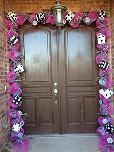 Front door decorated for Bunco table decorations, halloween stuff, bunco party, game night, bunco night, bunco idea, door decor, front doors, casino night