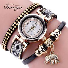 Barato Duoya Marca de Luxo Moda Feminina Ouro Elefante Vestido De Cristal De Quartzo Pulseira Relógio Relógio de Pulso Presente Da Menina Das Mulheres do Sexo Feminino, Compro Qualidade Pulseira Relógios das mulheres diretamente de fornecedores da China: