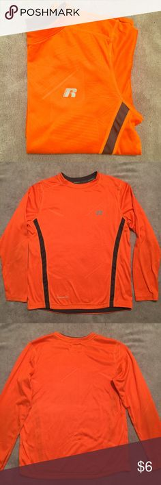 Boy's Shirt Pre-loved condition.  Size L(10-12), but snug.  I'd say fits more like an 8-10.  Orange with grey stripes.  💯% polyester.  A few minor snags. Shirts & Tops