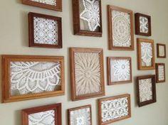Crochet Wall Art, Crochet Wall Hangings, Crochet Home, Framed Doilies, Lace Doilies, Cuadros Diy, Doily Art, Doilies Crafts, Crochet Mandala Pattern