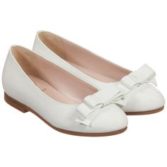 Girls White Patent Leather Bow Shoes, Il Gufo, Girl