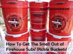I test several different methods of getting the pickle smell out of Firehouse Subs' Pickle Buckets.