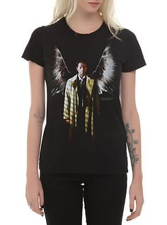 Supernatural Winged Castiel Girls T-Shirt | Hot Topic @Janie Rogers
