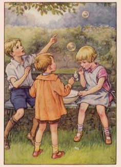 Blowing Bubbles.  Illustration by Cicely Mary Barker.  No further information.