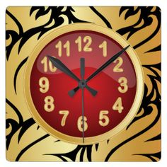Floral Black Print with Red and Gold Square Wall #Clocks