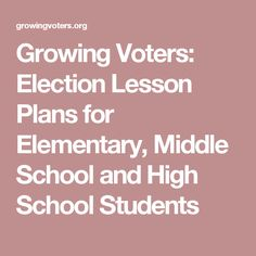 Growing Voters: Election Lesson Plans for Elementary, Middle School and High School Students High School Students, College Students, Free Lesson Plans, Presidential Election, Classroom Activities, Social Studies, Middle School, How To Plan, Math