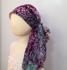 Ava Joy Children's Scarf - Colorful Tye Dye - A Children's Head Scarf, Hat, Head Cover, for hair loss due to cancer, chemo, and alopecia. by InspirationalHeadCov on Etsy