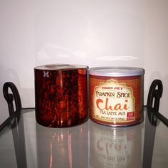Our Pumpkin, Clove & Cinnamon candle, in our holiday Mercury Glass, inspired me to buy some Pumpkin Spice Chai Tea Latte mix from Trader Joe's. We can't get enough of pumpkin right now! Get your Mosaiq candle, and Trader Joe's chai mix today, and fall into Fall! #mosaiqfragrance #traderjoes #pumpkinspice #fall