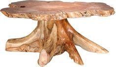 Amish Rustic Big Leaf Burl Coffee Table with Stump Base