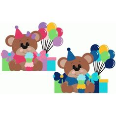 Silhouette Design Store: birthday boy or girl bear with balloons