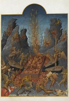 Limbourg Brothers, The Infernal Gridiron. Before 1416. (Miniature from the Tres Riches Heures du Duc de Berry)