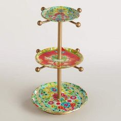 Floral Enameled 3-Tiered Jewelry Stand | World Market