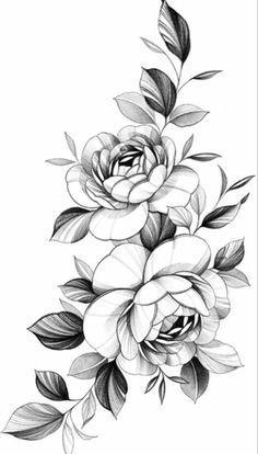 Peony Flower Tattoos, Flower Tattoo Drawings, Peonies Tattoo, Tattoo Design Drawings, Armband Tattoo Design, Tattoo Sleeve Designs, Sleeve Tattoos, Floral Tattoo Design, Flower Tattoo Designs